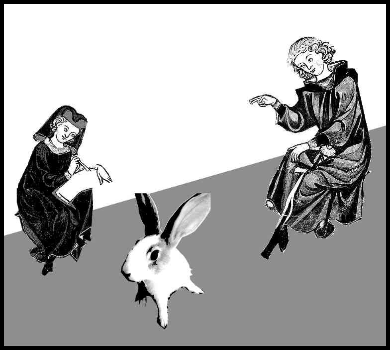 two people and a rabbit