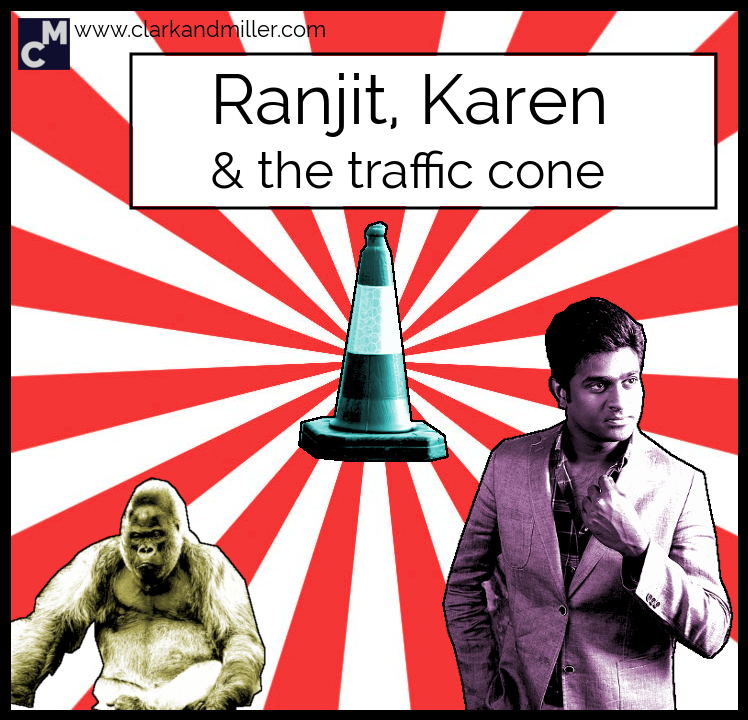 Ranjit, Karen and the traffic cone