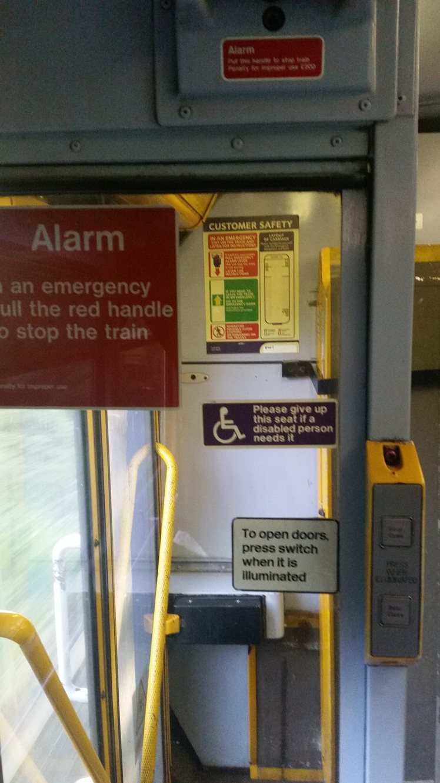 British English signs on a train