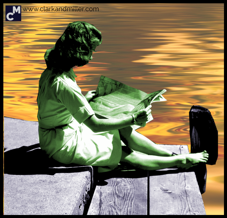 other words for relaxed: a relaxed woman reading by a lake