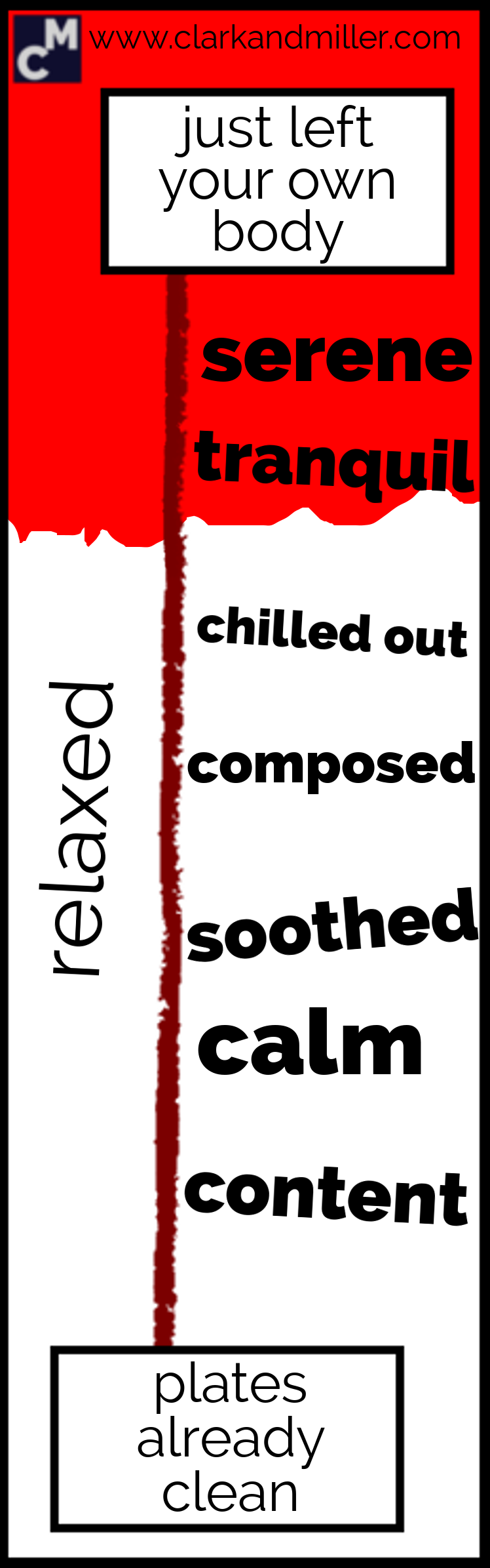 Words for relaxed: serene, tranquil, chilled out, composed, soothed, calm, content
