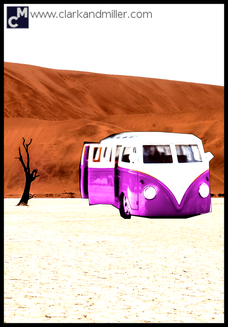 VW bus in the desert