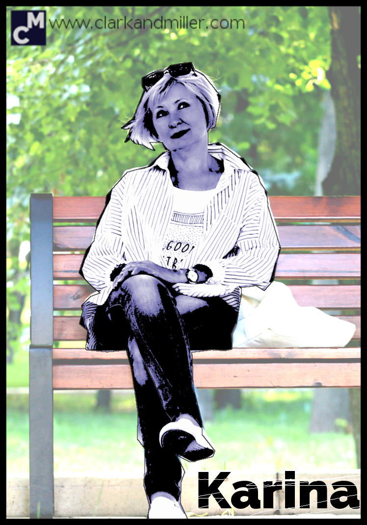 Karina: middle-aged woman sitting on park bench