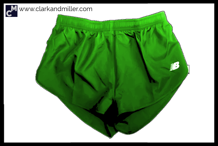 Green running shorts
