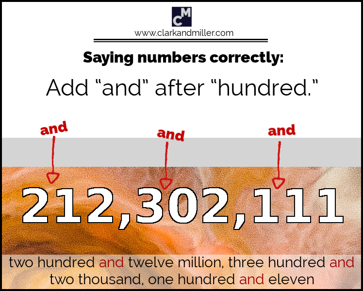 Large numbers: add 'and' after 'hundred'