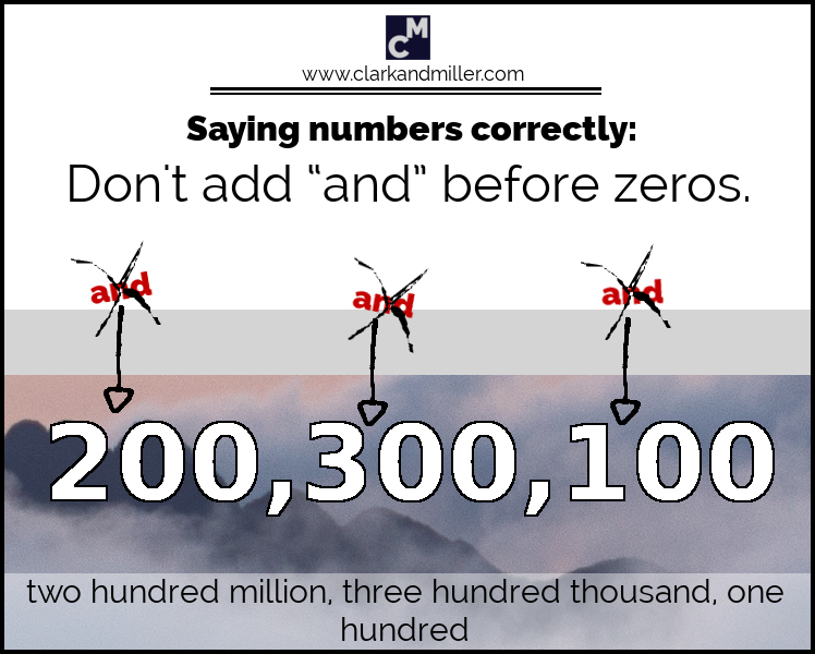 Large numbers: don't add 'and' before zeros