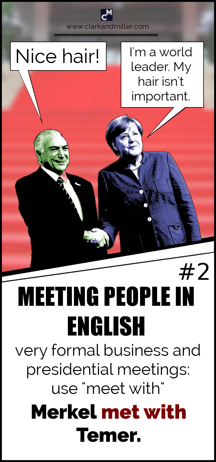 "Meeting people in English - Very formal situations: use ""meet with"""