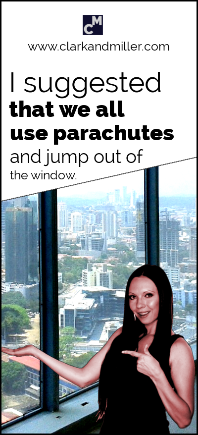 How to use suggest: I suggested that we all use parachutes and jump out of the window.