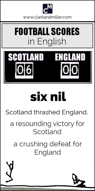 How to say football scores in English: six nil / Scotland thrashed England. / a resounding victory for Scotland / a crushing defeat for England