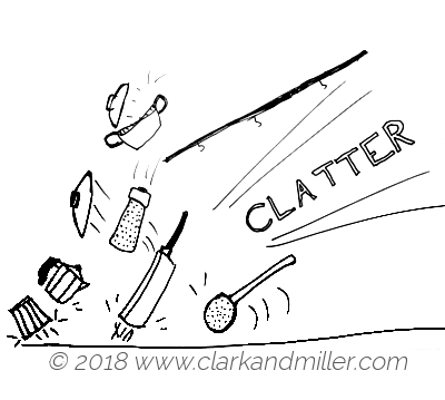 Clatter: pots and pans falling on the floor