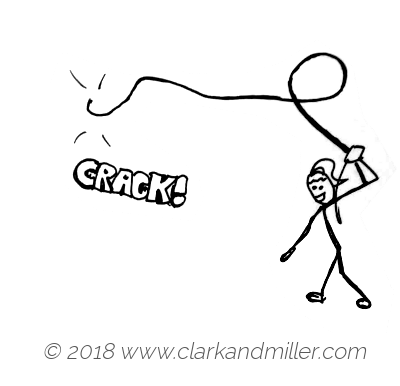 Crack: a woman cracking a whip