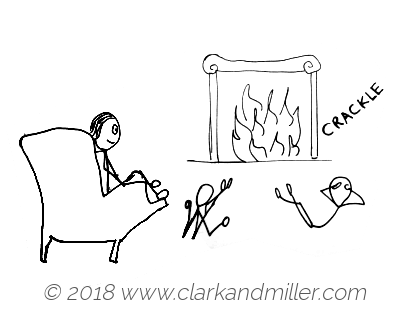 Crackle: a family in front of a fireplace