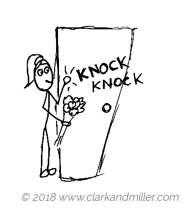 Knock: a woman knocking on a door