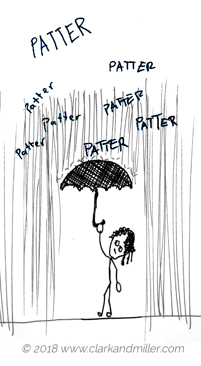 Patter: a woman holding an umbrella in the rain