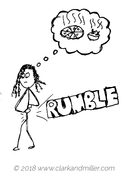Rumble: a hungry woman thinking about food