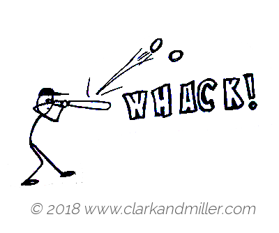 Whack: a baseball bat hitting a ball