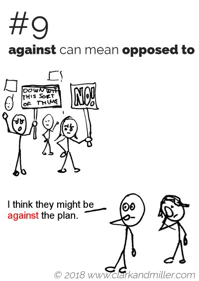 """Against"" can mean ""opposed to"": I think they might be against the plan."