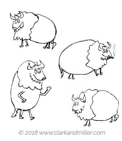 Drawing of four buffalo