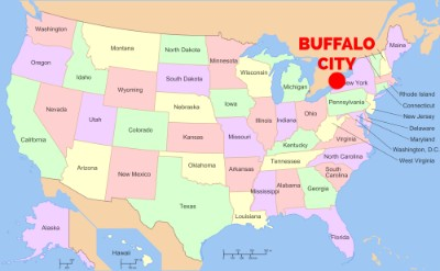 Buffalo city on a map