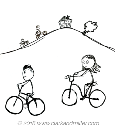 Stick figures on bikes
