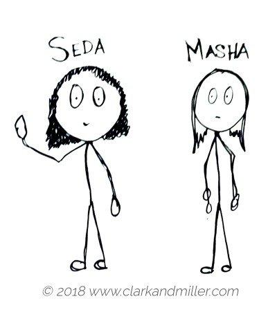 Two stick figure women