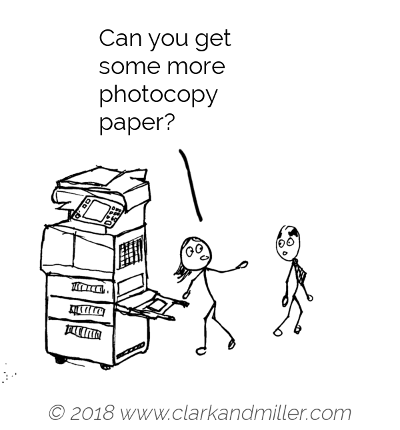 Request example comic: Can you get some more photocopy paper?