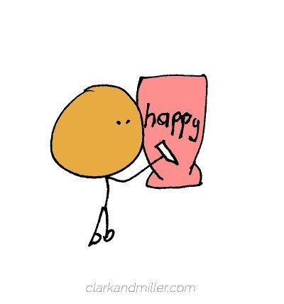"Stick figure with the word ""happy"""