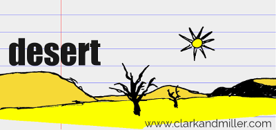 desert drawing with text