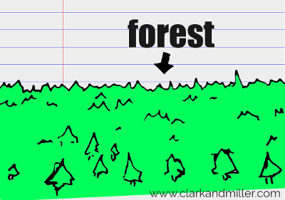 forest drawing with text