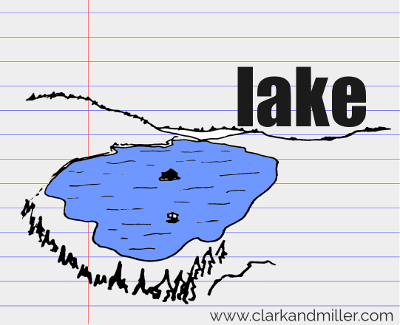 lake drawing with text
