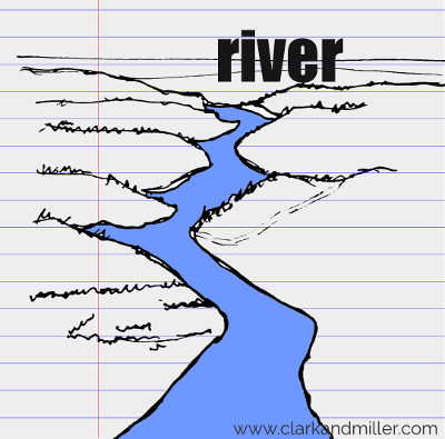 river drawing with text