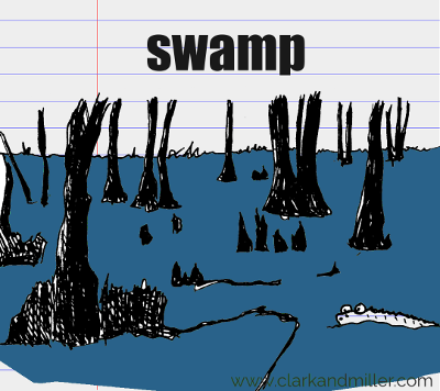swamp drawing with text