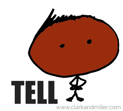 "Stick figure with ""tell"""