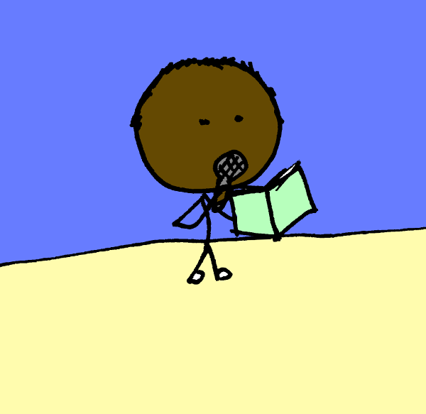 Stick figure with microphone