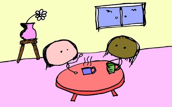 Two stick figures drinking tea