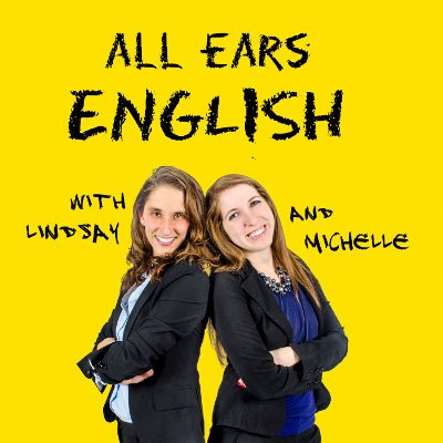 All Ears English Podcast: Lindsay and Michelle standing back to back and smiling