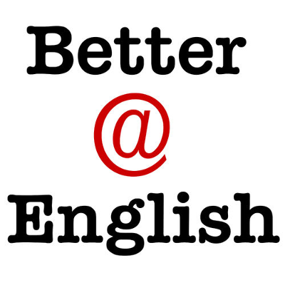 Better @ English Podcast Logo: Black and red text on white background