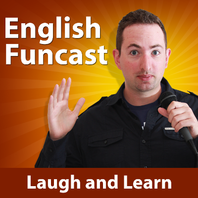 "English Funcast Podcast: Man holding a microphone on a gold and brown background with the text ""laugh and learn"" at the bottom"