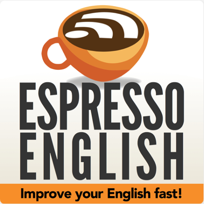 "Espresso English Podcast Logo: A coffee cup with the wifi symbol in it and the text ""improve your English fast"" at the bottom"