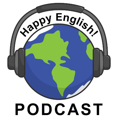 Happy English Podcast Logo: Planet Earth wearing a pair of headphones