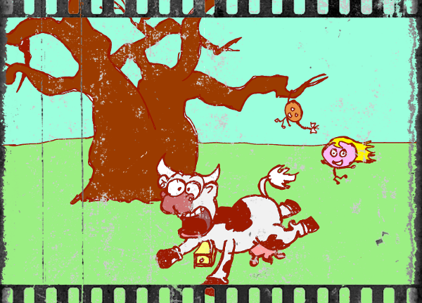 Cartoon made to look like an old photograph of children climbing a tree and chasing a cow.