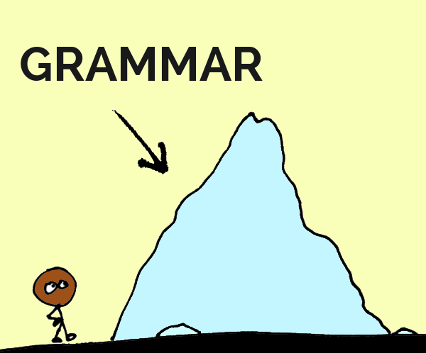 "Stick figure with a medium pile of rice labelled ""grammar"""