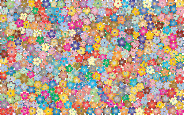 Floral pattern with interlocking small flowers in many different colours