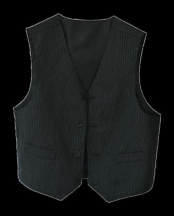 Black-and-white pinstriped waistcoat