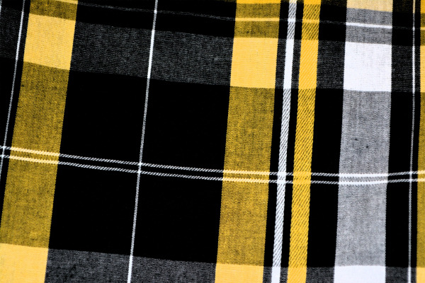 Yellow, black and white tartan