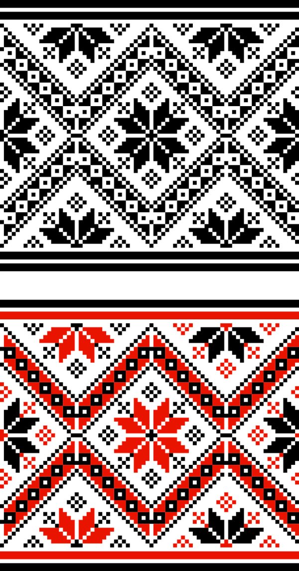 Traditional Bulgarian pixelated pattern in red, black and white