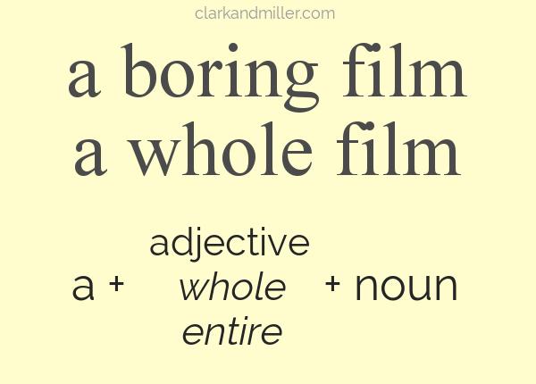 Text: a boring film, a whole film, a + adjective (whole, entire) + noun