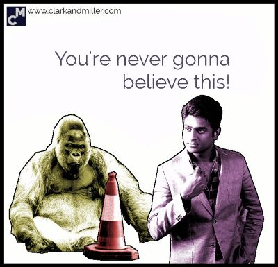 """A gorilla, a traffic cone and a smartly dress man with the text """"You're never gonna believe this!"""""""