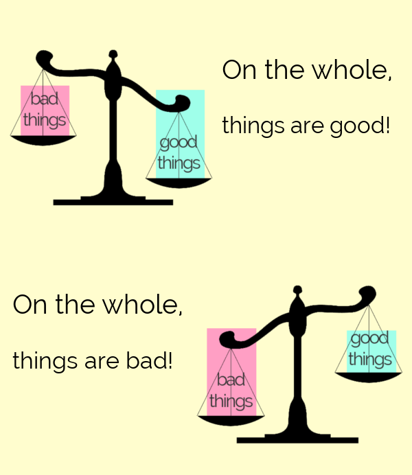 """Old-fashioned scale with the text """"good things"""" on one side and """"bad things"""" on the other side. Image 1: scale tipped towards """"good things"""" with text """"On the whole, things are good."""" Image 2: scale tipped towards bad things"""" with text """"On the whole, things are bad."""""""