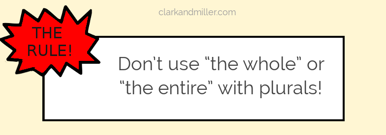 """Text: The rule: Don't use """"the whole"""" or """"the entire"""" with plurals"""